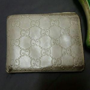 Guccissima gucci cream bifold wallet silver